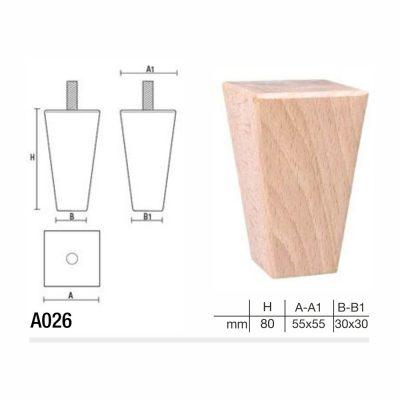 Mobilier lemn masiv - Picioare mobilier A026 Picioare mobilier